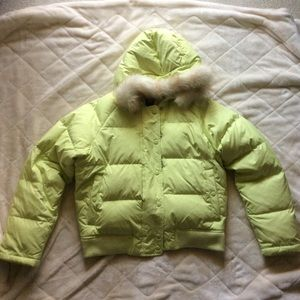 Gap lime green puffer jacket with fur hood lining